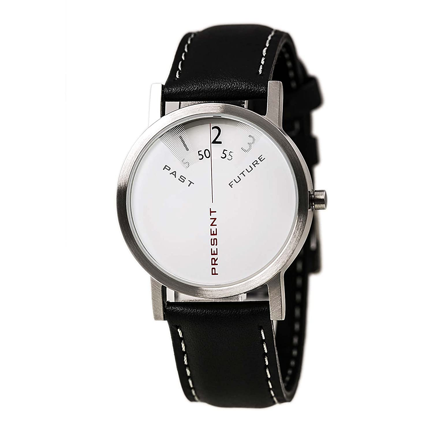 Projects Watch - Past - Present - Future - Silver-Leather (33mm)