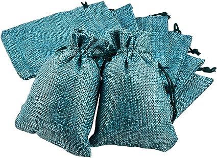 Imagen deBENECREAT 30 PCS Bolsas de Arpillera con Cordón Envase de Regalo Color Verde Mar Medio para Fiesta Boda y Almacenamiento de Cosas Pequeñas 14x10cm