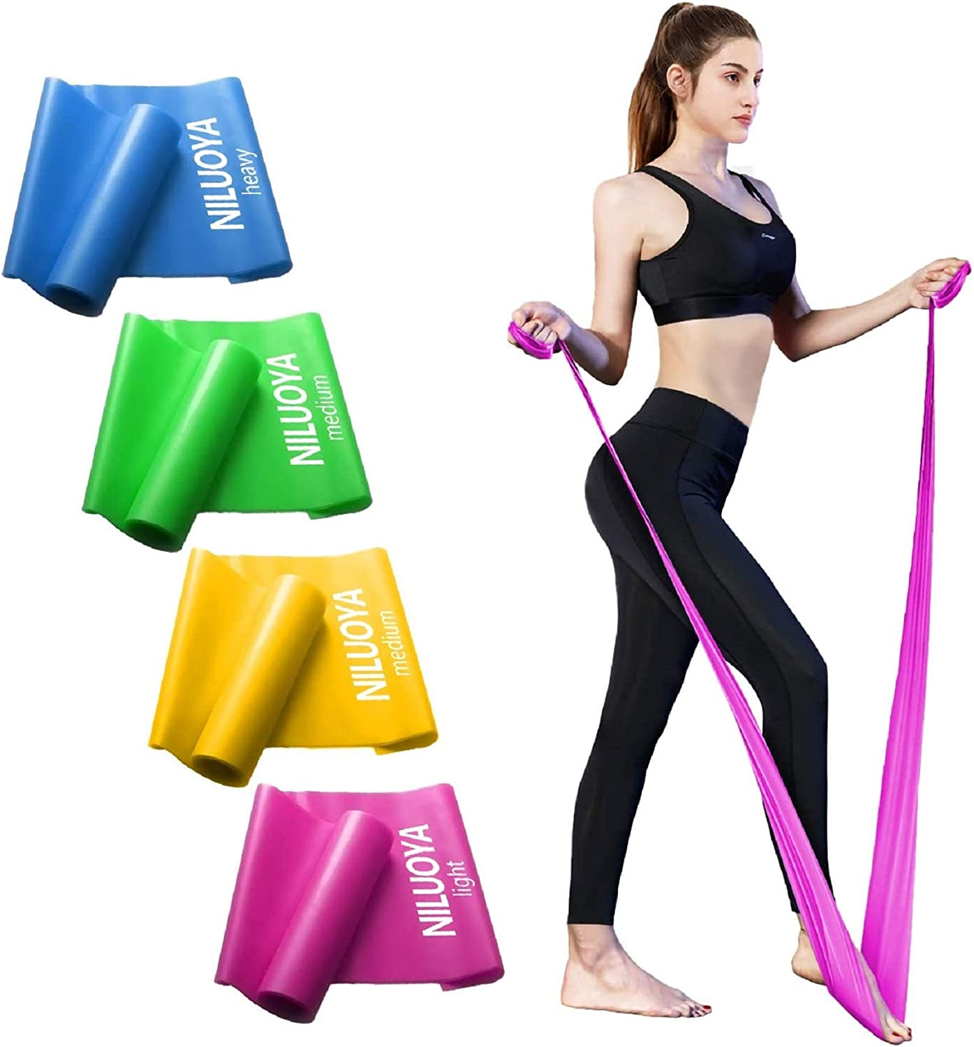Niluoya Resistance Bands Set, 4 Pack Elastic Excersize Resistant Long Tension Band, Women Men Leg Arm Stretch Training for Home Workout, Yoga, Pilates, Fitness Exercise, Physical Therapy