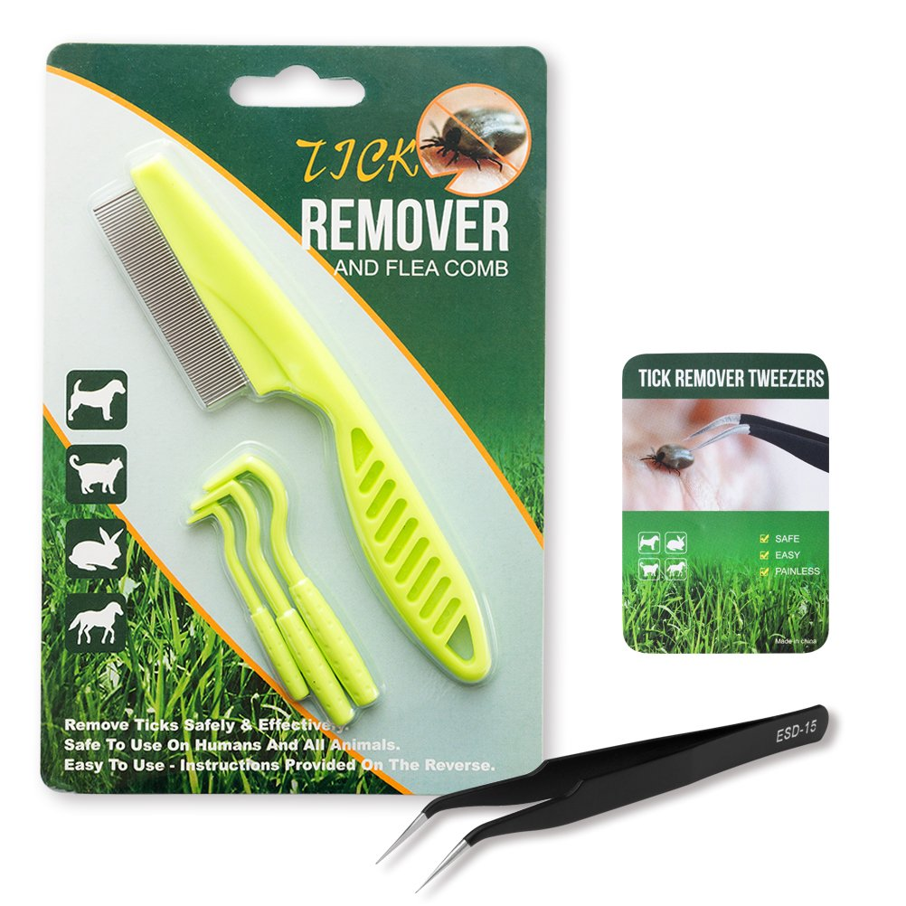 Orangexcel Tick Remover Tool Set for Dogs, Cats and Humans - 3 Pack of Tick Removers, 1 Pack of Flea Comb and 1 Pack of Tweezers