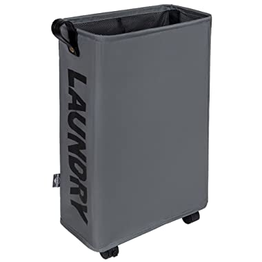 DOKEHOM Slim Laundry Basket with Leather Handle on Wheels, Foldable Corner Storage Bins, Collapsible Rolling Laundry Hamper. L39 xW19 xH58cm (Dark Grey, M)