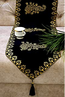 Royal DecoFurnishing Exotic Royal Gold Hand Block Printed Silk Table Runner  In Black  (90
