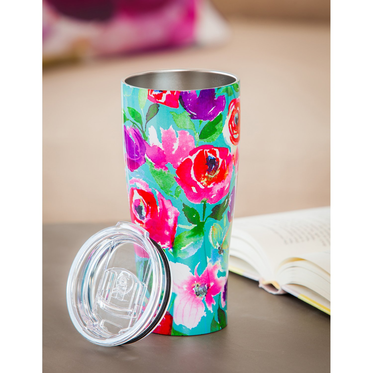 Cypress Home Boho Floral Party Stainless Steel Hot Beverage Travel Cup, 17 ounces by Cypress Home (Image #2)