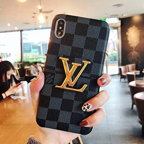 Phone Case For I Phone Xs, Phone Case For I Phone X, Luxury Designer Vintage Pu Leather Back Metal Logo With Card Slots Protective Case For I Phone Xs, I Phone X by Jatkyun