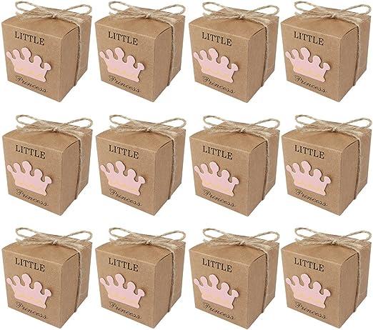 aytai Pack de 50 cajas de caramelos regalo para el bebé ducha, princesa de el principito Color Marrón Kraft Papel para fiesta boda Favor, Sweet Regalos para niños niñas cumpleaños: Amazon.es: Hogar
