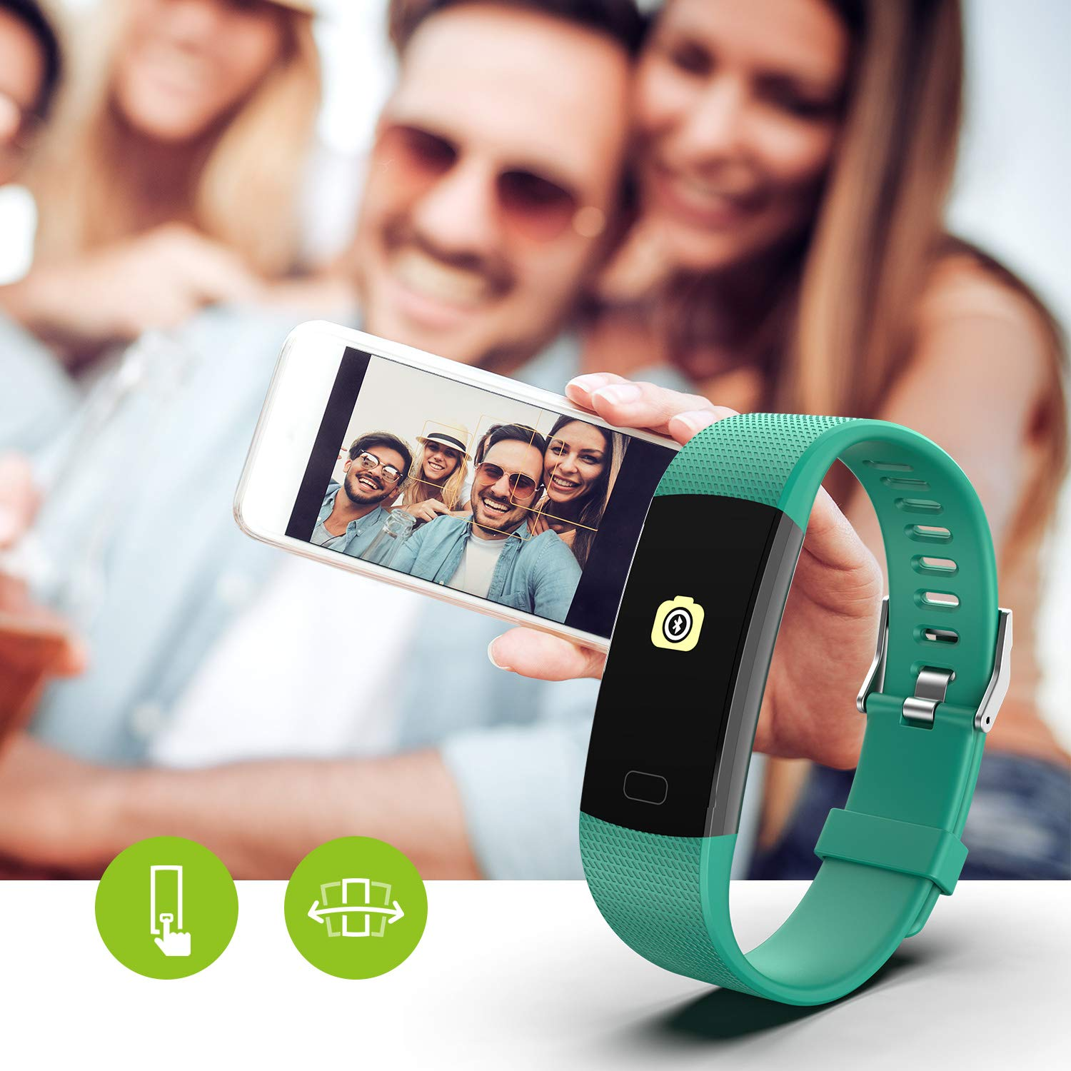 Fitness Tracker HR, Y1 Activity Tracker Watch with Heart Rate Monitor, Pedometer IP67 Waterproof Sleep Monitor Step Counter for Android & iPhone (Green) by Akuti (Image #7)