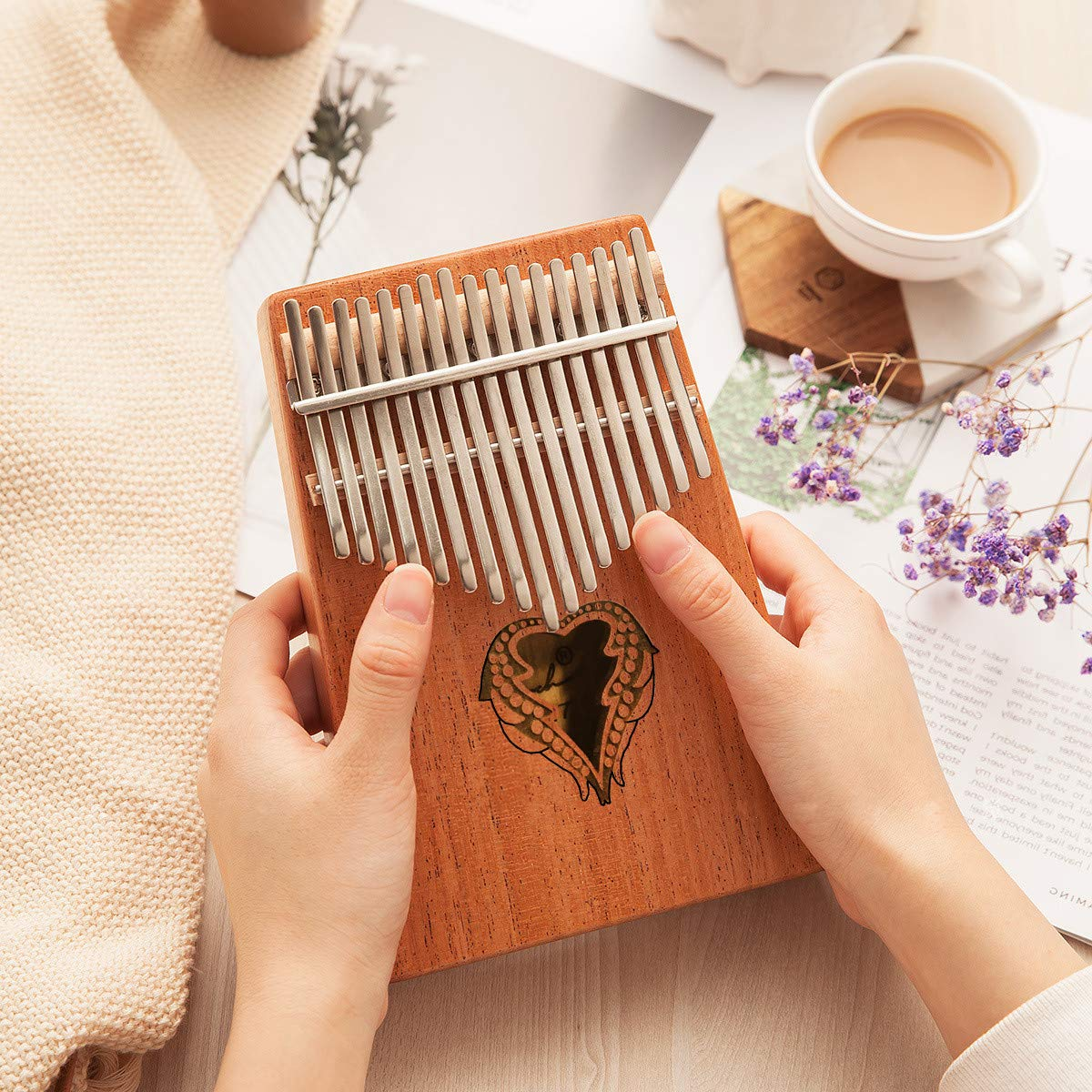 Thumb Piano Ranch Kalimba 17 keys Finger Mbira with Online 6 Free Lessons Solid Wood Mahogany Christmas Gifts with Bag/Carved Notation/Tune Hammer - Love Heart by Ranch (Image #6)