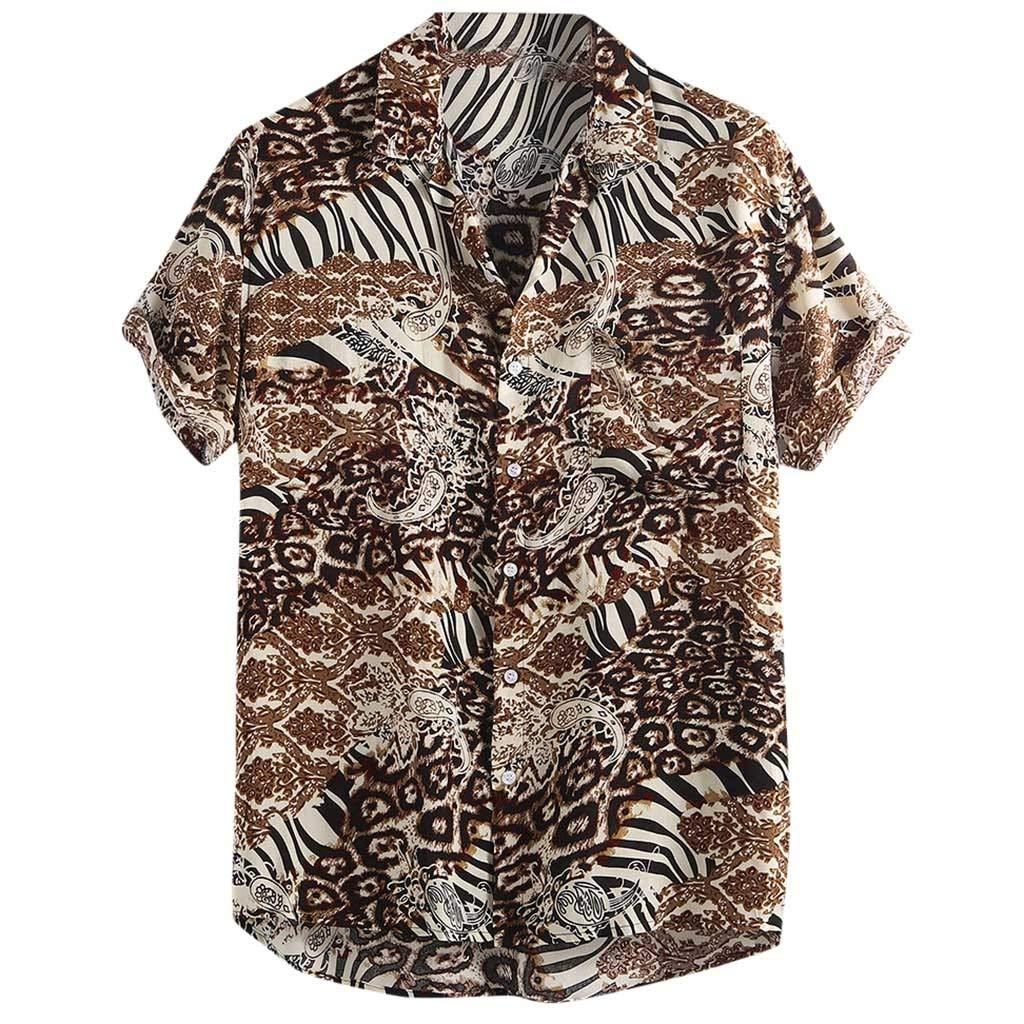 TIFENNY Men's Color Block Shirts Cotton Linen Printed Turn Down Collar Short Sleeve Loose Casual Shirt Tops Summer Tee Brown