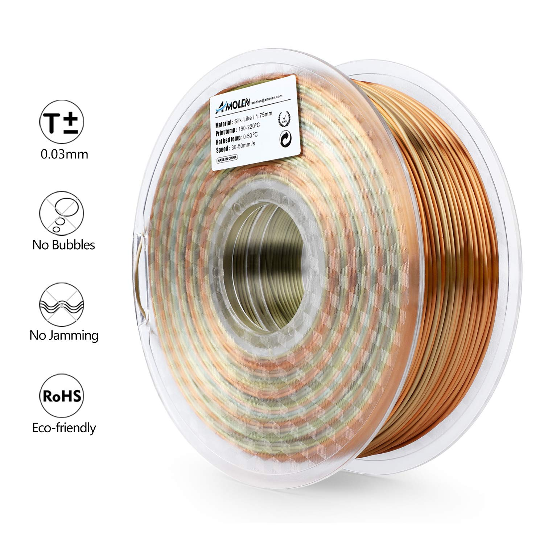 AMOLEN PLA 3D Printer Filament Multicolor Silk Metal Rainbow 1 kg Spool Includes Sample Glow in The Dark Filament 1.75mm