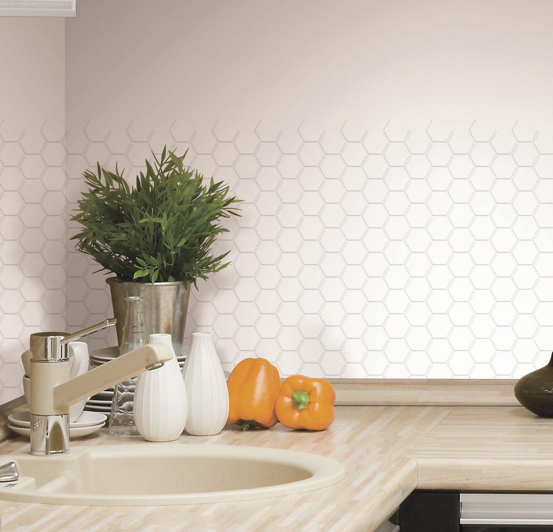 RoomMates Pearl Hexagon Peel and Stick Tile Backsplash, 4-pack 10.5'' X 10.5''