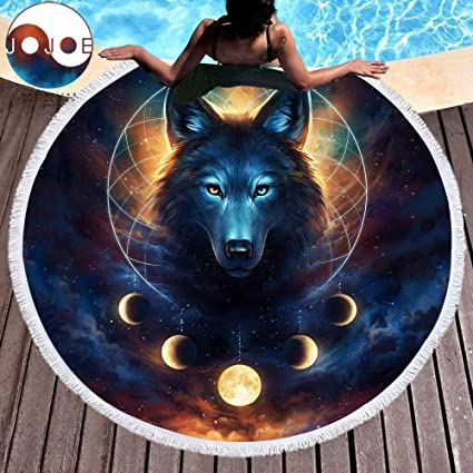 Bedding Outlet Dream Catcher by JoJoesArt Round Beach Towel for Adults Microfiber Toalla Moon Eclipse Blanket