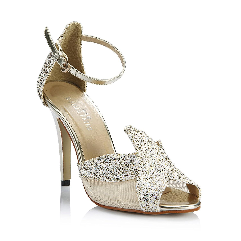 Neue Weibliche Sandalen Ehe Braut Dinner Show die die die high-heel Schuhe Goldene Licht Scheibe Fisch tipp Frauen Schuhe f4a562