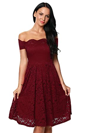 231fdc57e2b8 Women s Black Scalloped Off Shoulder Flared Lace Short Sleeve Sexy Dress  Plus Size Lady Dresses at Amazon Women s Clothing store