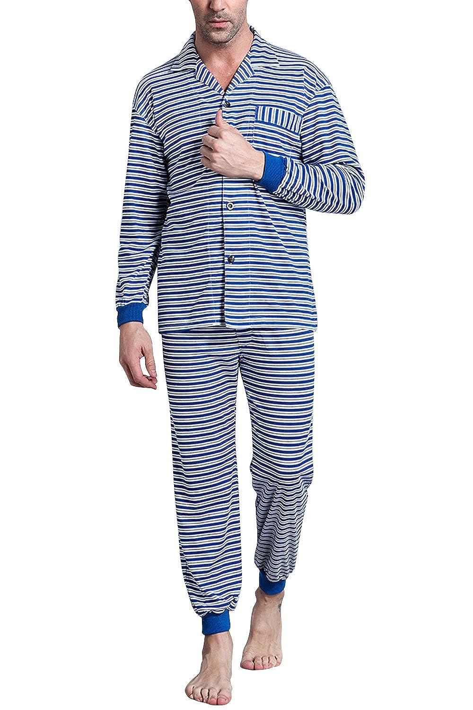Dolamen Pijamas para Hombre Algodón, Hombre Pantalones de Pijama Largos Primavera Suave y Suave, Hombre Camisones Pijamas de Parejas, Collar con Bolsillo ...