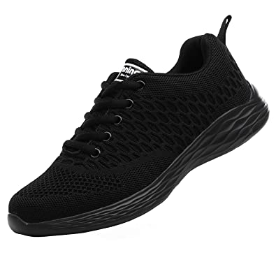25c9b3c509 Ladies Gym Trainers Walking Trainers Womens Fitness Lightweight Jogging  Shoes Sneakers (2.5 UK, Black