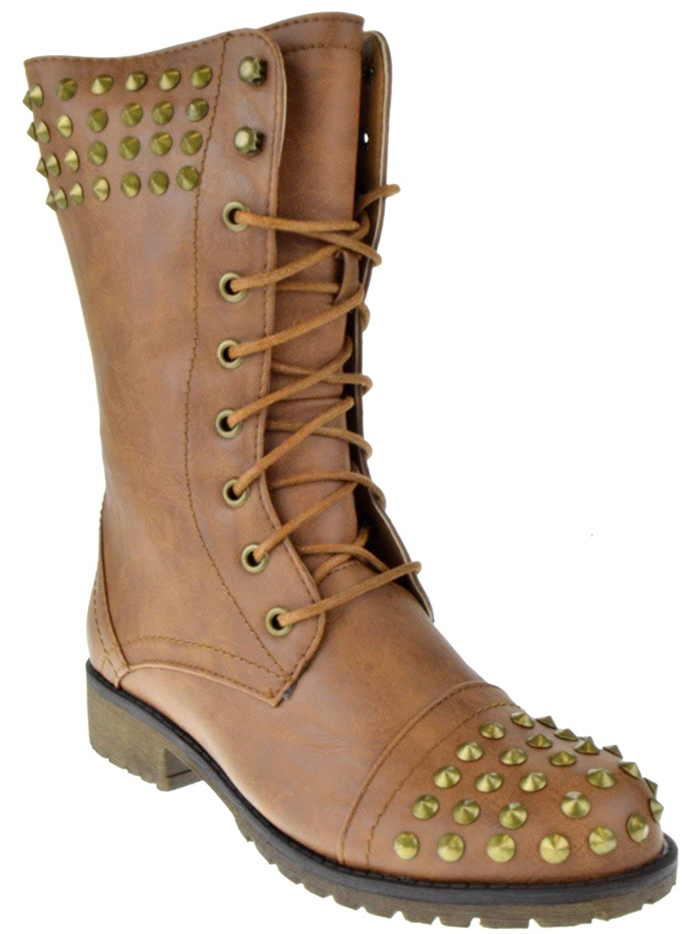 Amazon.com: Harley 14 Womens Militar Lace Up Studded Combat ...