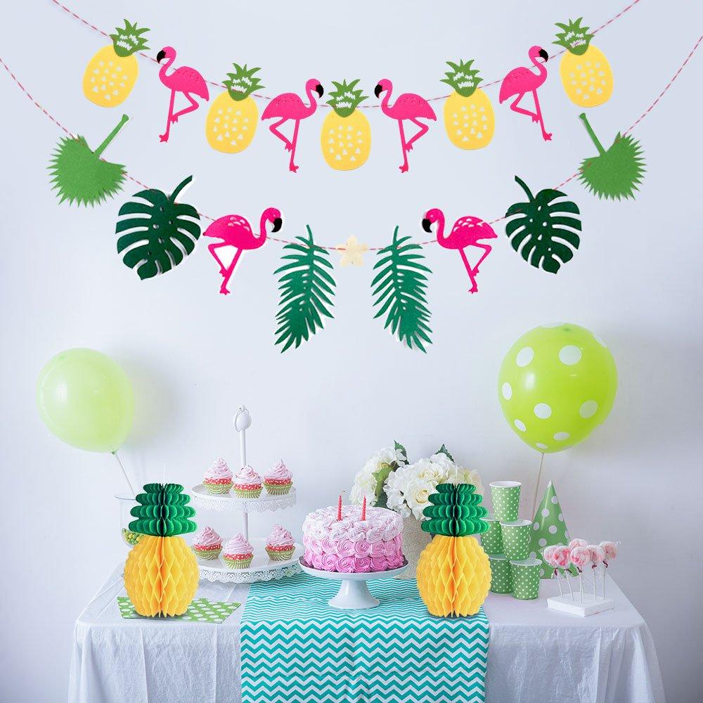 KUUQA 2 Pack Hawaiian Tropical Garland Pineapple Flamingo Banner with 2 PCS Pineapple Honeycomb for Pink Flamingo Hawaiian Tropical Party Birthday Party Decoration