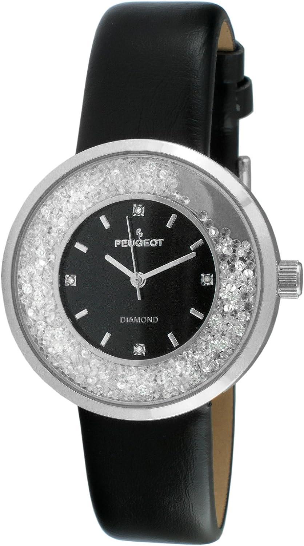 Peugeot Women s Genuine Diamond Marker Silver Tone Floating Crystal Watch