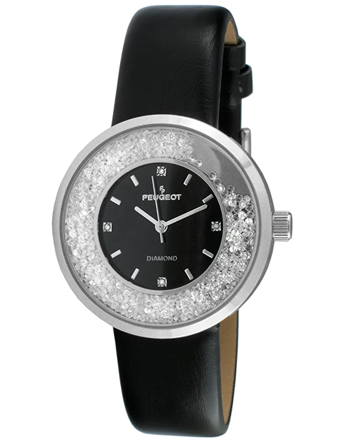 Peugeot Women's Genuine Diamond Marker Silver Tone Floating Crystal Watch