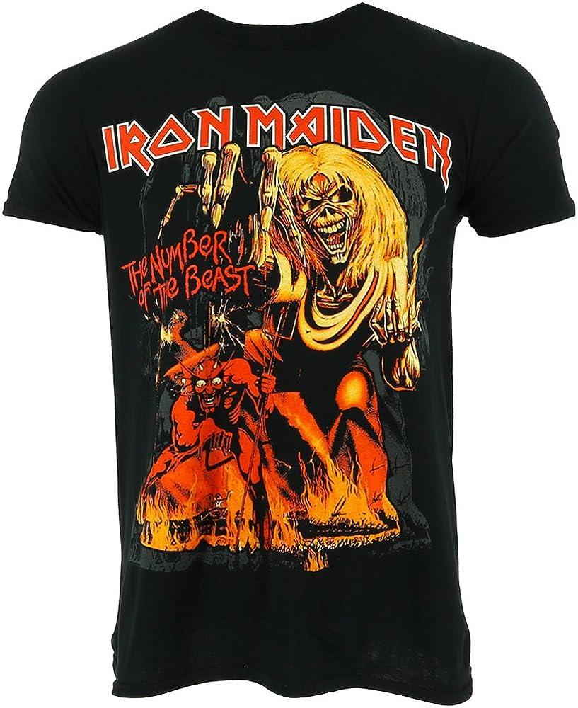 Iron Maiden Number of the Beast Graphic Camiseta Oficial Con licencia Music: Amazon.es: Ropa y accesorios