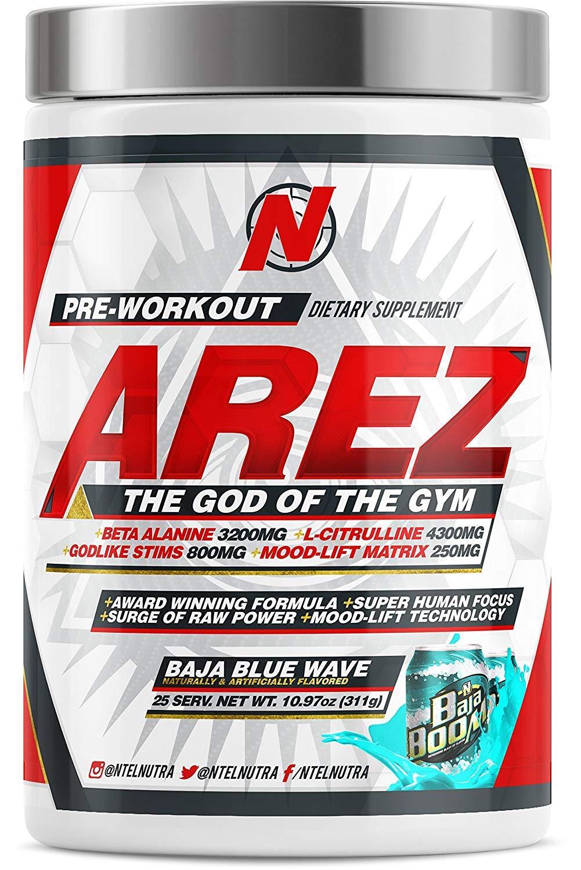 AREZ God of the Gym Pre-Workout (Baja Blue Wave) by NTel Nutra (Image #1)