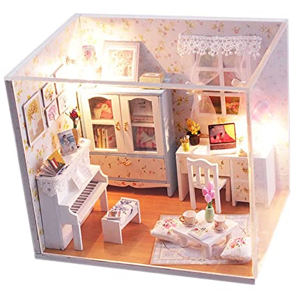 Ogrmar Wooden Dollhouse Miniatures DIY House Kit With Cover and Led  Light-Tour Into Picture