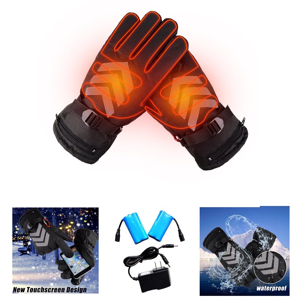 Touch Screen Motorcycle Heating Gloves, Rechargeable Electric Battery Heated Gloves, Molie Battery Powered Gloves, Waterproof Insulated Night Reflective Hand Warming Gloves for Outdoor Sports blue--net