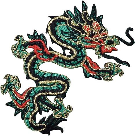 Grande verde y rojo dragón chino hierro en parche: Amazon.es ...