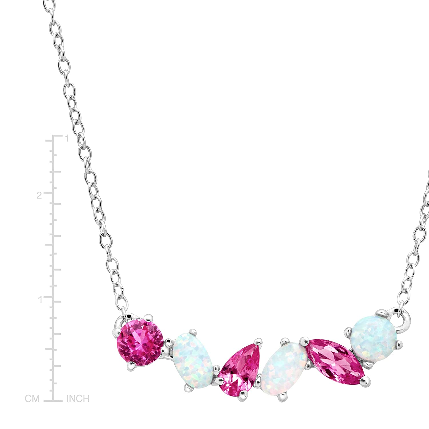 1 ct Created Pink Sapphire /& Opal Garland Necklace in Sterling Silver