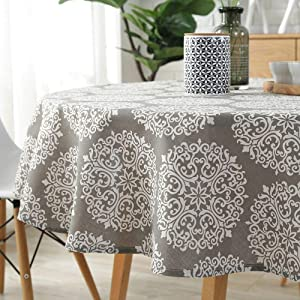 """Lahome Medallion Floral Tablecloth - Cotton Linen Table Cover Kitchen Dining Room Restaurant Party Decoration (Round - 60"""", Gray Medallion)"""