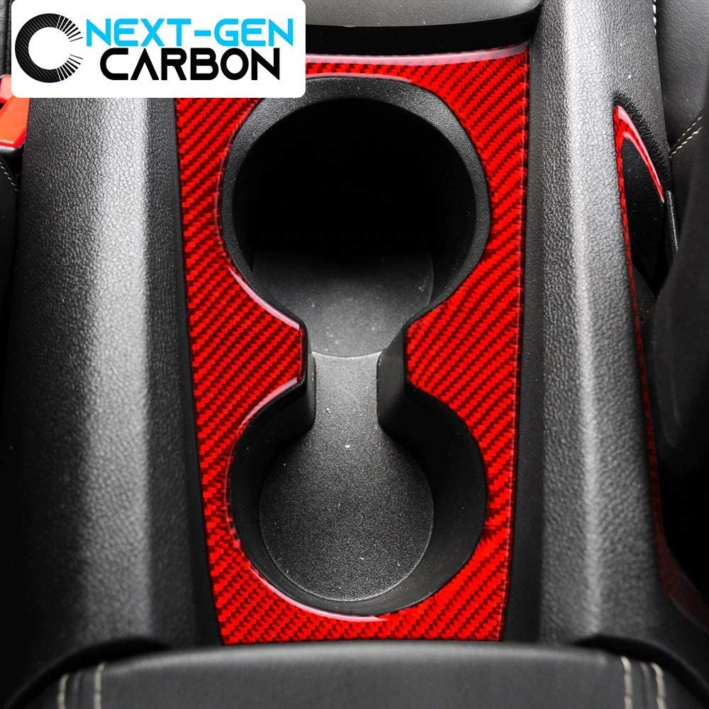 Black Carbon Fiber Next-Gen Speed Chevy Camaro Real Carbon Fiber Cup Holder Center Console Overlay Cover Kit for 2010 2011 2012 2013 2014 2015 Cover Glossy Carbon Black Camaro 5 Fifth Generation