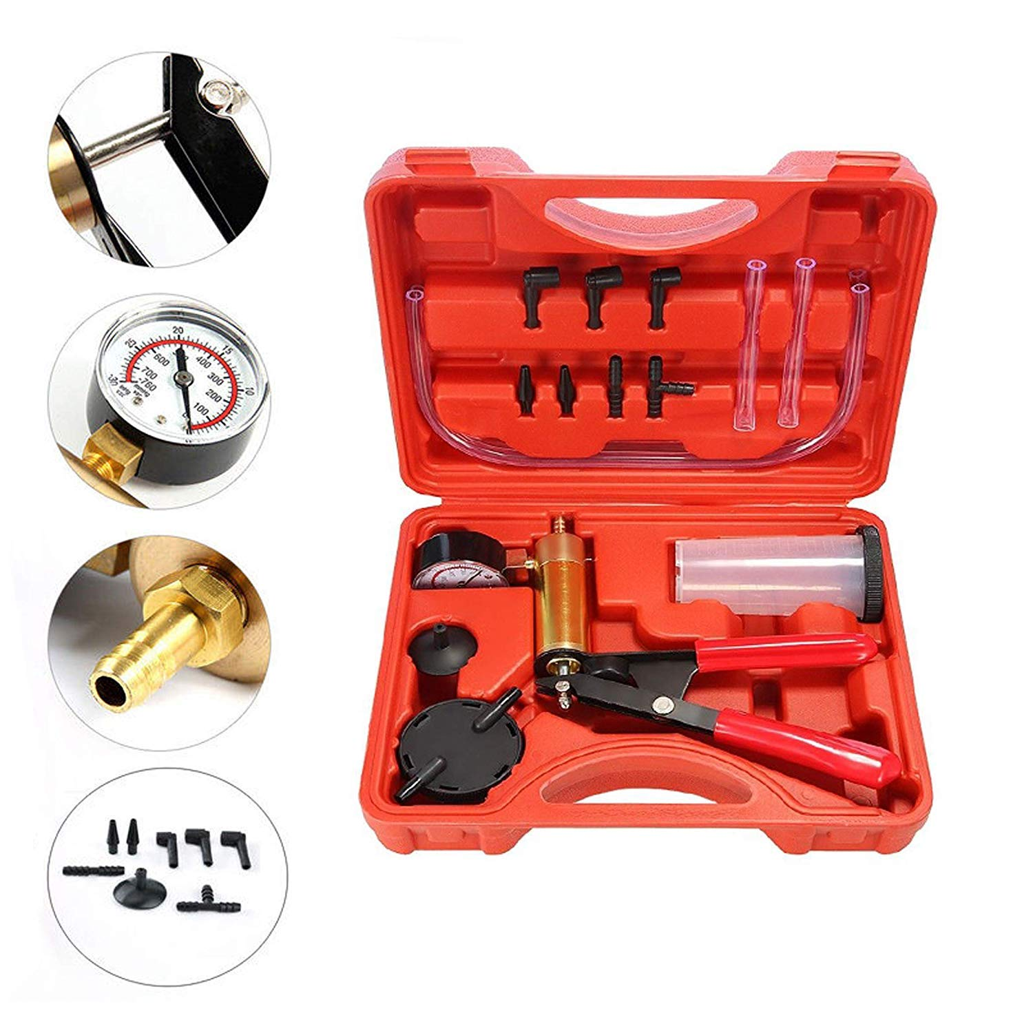 Podoy 2 in 1 Brake Bleeder Kit Handheld Vacuum Pump Test Set Tuner kit for Automotive Tuner Tools Adapters Case