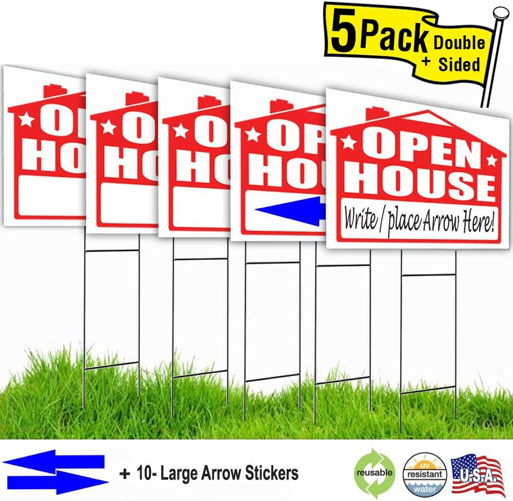 Visibility Signage Open House Lawn Sign Kit and Giant Arrow Stickers 10
