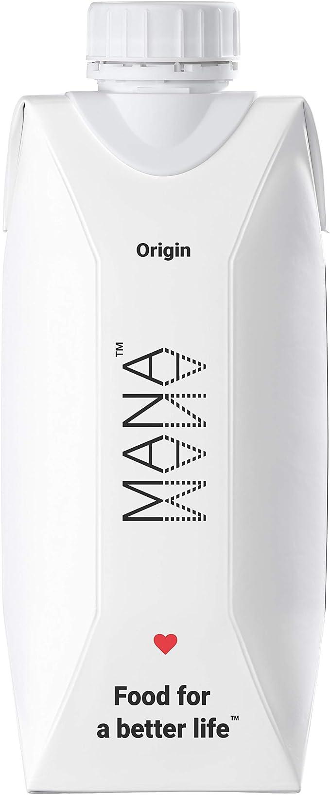 Mana Drink es un alimento listo para beber 100 % completo a nivel nutricional. Vegano, sin lactosa y sin organismos genéticamente modificados. Paquete de 12 x 400 kcal en botellas de 330