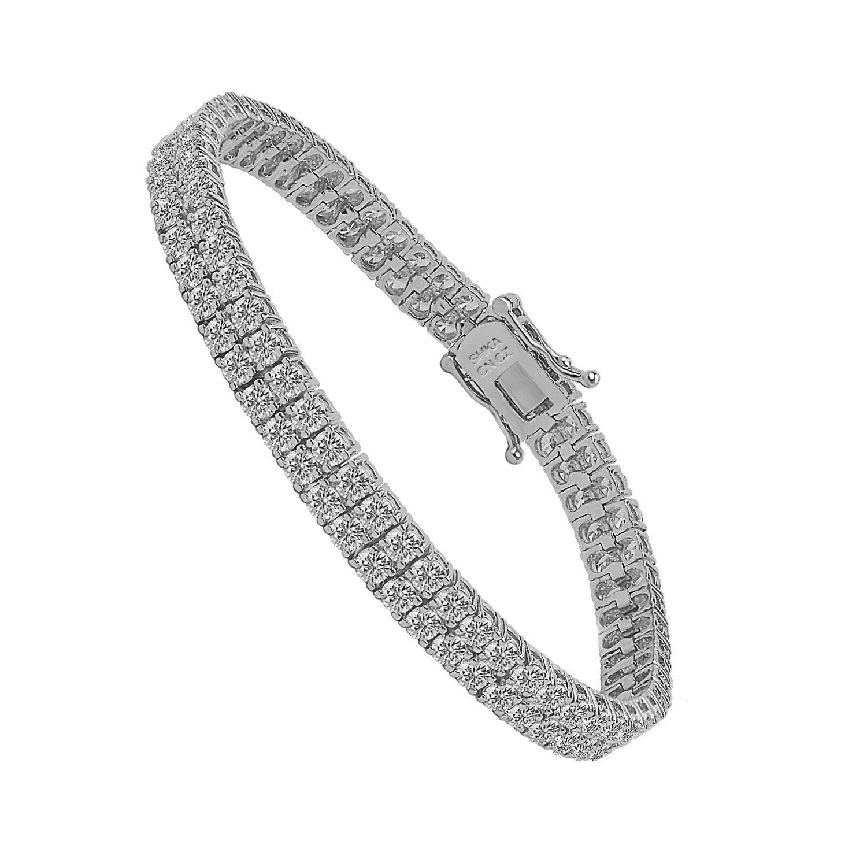 SHKA 2 Rows AAA Cubic Zirconia Tennis Bracelet 6.5 mm CZ Bracelets for Women