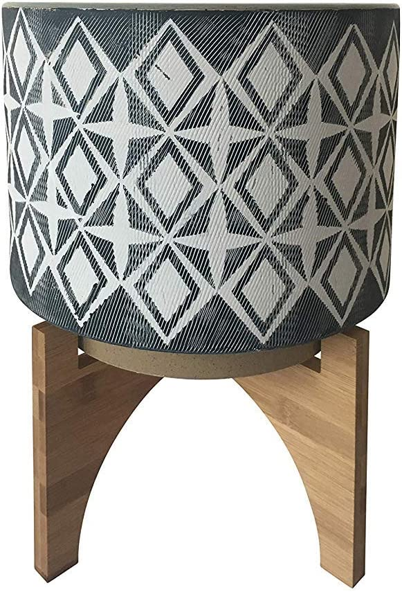 The Bridge Collection Grey Ceramic Planter with Mod Pattern & Wooden Stand