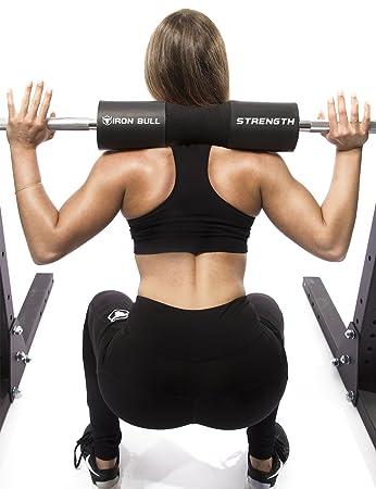 Almohadilla para sentadillas avanzada - soporte de barra con pesas para sentadillas, estocadas y empujes de cadera - almohadilla protectora para el cuello y ...