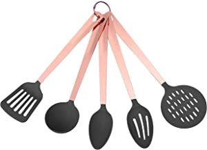 COOK with COLOR 5 Piece Nylon Cooking Utensil Set on a Ring with Rose Gold Copper Handles (Grey)