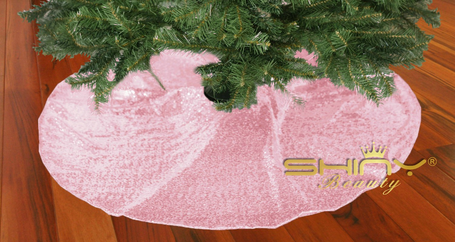 Pink-Sequin-Tree Skirt-48Inch Christmas Tree Shirt,Embroidered and Sequined Mesh Thanks Giving Holiday Decor (Pink)