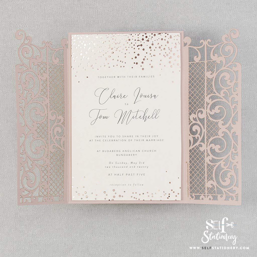 Sample! Ornamental Cream Rose Gate Laser Cut Invitations with Envelopes and Elegant Rose Gold Foil Confetti Motive Invitation Cards Set DIY Lace Kit