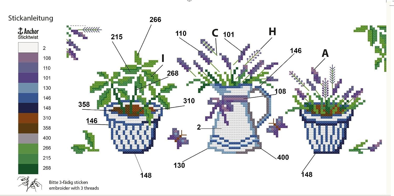 Stickpackung Lavendel Stickset mit Stickvorlage Komplettes vorgezeichnetes Kreuzstich Tischdecken Set zum Sticken