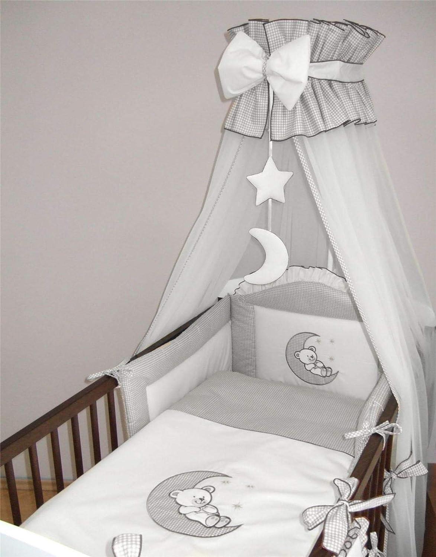 pour lit de 120 x 60 cm, gris Parure de lit pour b/éb/é 8 pi/èces pour lit de 120 x 60 cm ou 140 x 70 cm Motif lune brod/ée