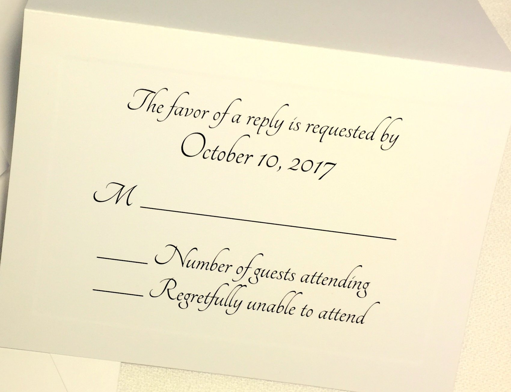50 Custom RSVP Response Cards with Envelopes. IVORY cards with elegant raised panel edging. Personalized Wedding, Anniversary, Party RSVP. Several Font Choices. Fold Tent Style. (Modern Flair)