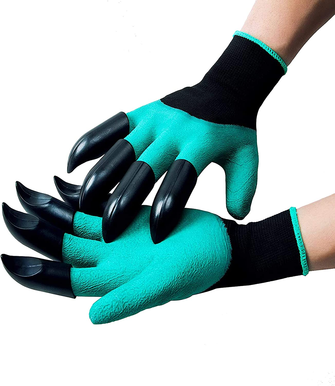 Garden Genie Gloves with Claws - Waterproof Garden Gloves for Digging, Planting, Weeding, Protect Fingers, Gardening Gifts for Women and Men (Green)