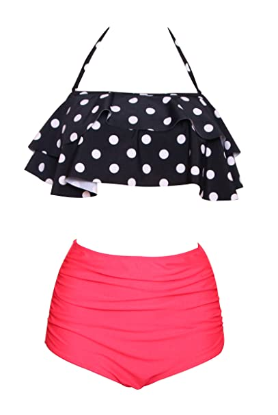 b933a461cebcf Dellukee Women's Retro Ruffle High Waist Two Piece Bikini Set Fashion  Flounce Swimsuits Bathing Suit