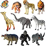 Safari animal toy plastic figures set of 9 in a polybag