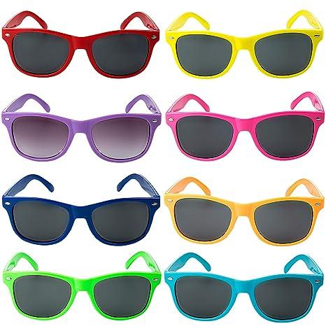 Comius Sharp Gafas Sol Fiesta, 8 Pack Gafas de Sol de Plástico para Niños - 8 Colores Brillantes Cumpleaños, Favores Regalos de Fiesta, Aire Libre, ...