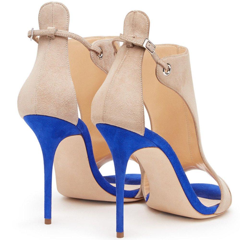 Damen Peep Toe High Heels Stiletto Stiletto Stiletto Damen Wildleder Sandalen Pumps Hochzeit 731f5f