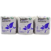 Veeda Natural Cotton UltraThin Day Pads with Wings, Unscented, 3 Packs, 14 Count Each