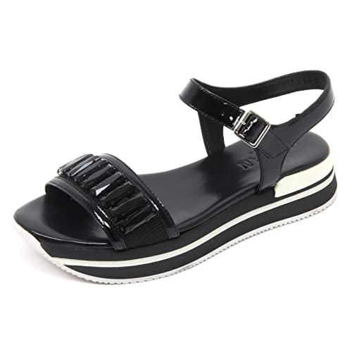 B7632 sandalo donna HOGAN H257 scarpa nero gioiello shoe sandal woman